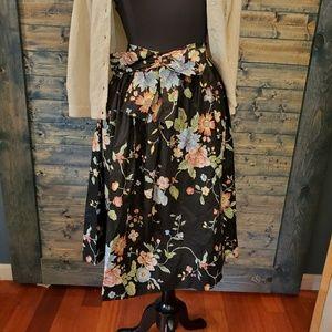 Vintage Floral Bow Skirt Midi 80s Shiny cotton